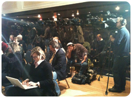 Media at WikiLeaks press conference.